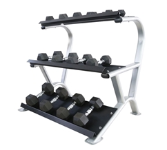 3-Tier Rubber Hex Dumbbell Rack