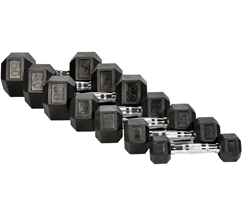 Rubber Hex Dumbbells 55-100lb (SOLD INDIVIDUALLY)